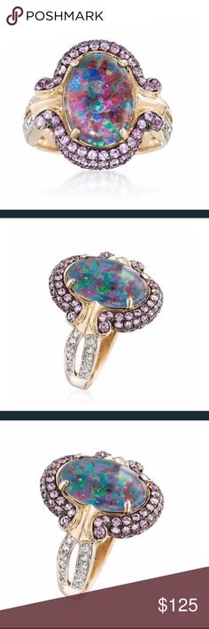 Fire opal ring Fire opal surrounded by pink and white sapphires in yellow gold filled setting. All lab Jewelry Rings