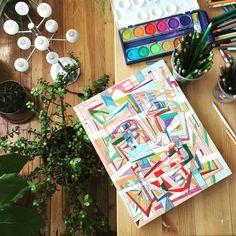 In the studio #joeyderuy.com #colorblocking #lart #studio #hollywoodandvine #laart #folkart #brainstorming #LA #loadsoflove #losangeles #artist #artistlife #workday #supportlocalartists