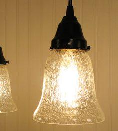 Kellie II. Seeded Glass Pendant Light. $69.00, via Etsy. Island/dining table lighting