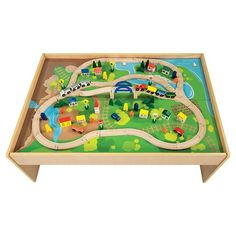 All Aboard Wooden Train Table  sc 1 st  Pinterest & Big Jigs Wooden Train Set. Complete with train set and wooden table ...