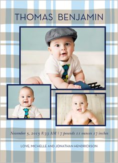 Perfectly Plaid Boy 5x7 Stationery Card by Clover