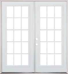"""6/0 15-Lite Steel Patio Prehung Double Door: Classic patio door! 15-lite steel french double door with external grilles. 6/0 x 6/8 replacement size, fits 72"""" x 80"""". Clear glass. Pre-hung in primed jambs. Ready to paint."""