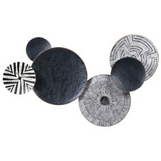 Decorative Circular Tribal Wall Art, Black and White | Gallery - Accessories