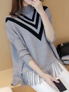 High Neck Fringe Striped Loose Pullover