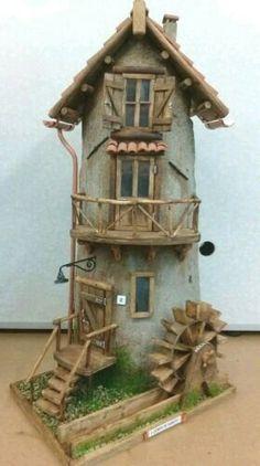 Hobbies For Older Men Clay Houses, Miniature Houses, Miniature Dolls, Bird Houses, Minit… Clay Fairy House, Gnome House, Fairy Houses, Clay Houses, Miniature Houses, Miniature Dolls, Clay Flower Pots, Fairy Village, Clay Fairies