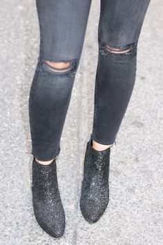 Ripped Skinny Jeans | Mango Red Leather Jacket | Mansur Gavriel Bucket Bag | Zara Glitter Boots | Fashionnes