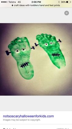 Child's feet painted  Pressed on canvas  And turned into Frankenstein