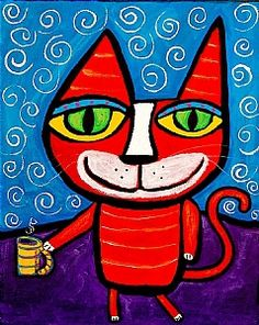 """""""Happy Coffee Kitty Cat"""" original painting by Tracey Ann Finley Cat Drawing, Painting & Drawing, Happy Coffee, Coffee Cat, Cat Doodle, Arte Horror, Animal Sketches, Naive Art, Outsider Art"""