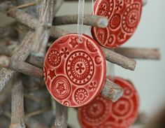 #EtsyEurope #europeanstreetteam Red Ceramic Christmas Ornaments Lace Ceramic  Winter by Ceraminic, $16.00