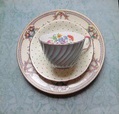 Vintage Mismatched Bone China 3 piece Luncheon Set by MiladyLinden