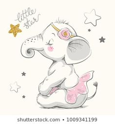 Can be used for … Cute elephant ballerina cartoon hand drawn vector illustration. Can be used for t-shirt print, kids wear fashion design, baby shower invitation card. Baby Elephant Drawing, Cute Baby Elephant, Baby Drawing, Elephant Baby Showers, Elephant Art, Cute Elephant Cartoon, Elephant Drawings, Baby Cartoon Drawing, Elephant Images