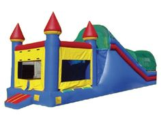 Giant 3in1 Castle Combo, Jump and Slide Combo, Bounce and Slide 800-873-8989    The 3in1 Castle Combo is our biggest jump and slide combination. It features a full bounce house, a huge climber, and a long slide. Perfect for all events and occasions. It is a 2 piece inflatable.