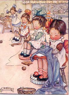 Sewing and Knitting My Sewing Room, Sewing Art, Sewing Rooms, Sewing Crafts, Sewing Projects, Images Vintage, Vintage Pictures, Vintage Cards, Vintage Postcards