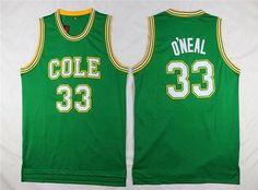 Men's Robert G. Cole High School #33 Shaquille O'Neal Green Baseketball Swingman Jersey