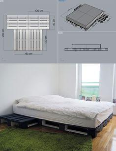 Esta es una forma práctica y sencilla para crear una cama utilizando palés. Simplemente agrupandolos según el esquema de las imágenes tienes la estructura necesaria para apoyar el colchón. Es una buena idea de base que podría evolucionar uniendo todos los palés con una subestructura, añadien…