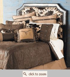 Love the western headboard & bedding
