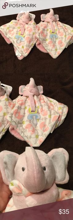 2 Lovey pacifier holder for stylish baby NWOT Baby girl lovey pacifier holder in a darling elephant print with 3 d elephant topper for little hands to grab. Set of two each for twins or as a backup replacement for that baby that attaches to one thing strongly you will have a 2cd one. Super extra soft and great Velcro closure to secure paci blankets and beyond Accessories