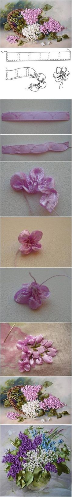 How to Make Embroidery Ribbon Lilac Flowers by anne