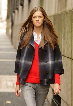 Charlotte Ronson's wool and viscose jacket; polo shirt and sweater by Lacoste; jeans by Diesel.