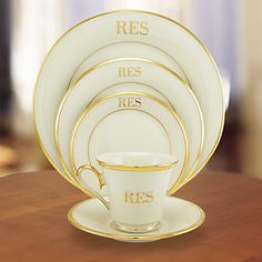 Monogrammed gold & cream china