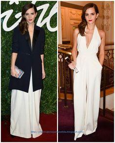 De los British Fashion Awards: Emma Watson. Con un mono color blanco con un abrigo estilo esmoquin de Misha Nonoo primavera 2015.