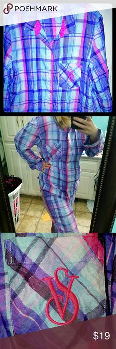 Victoria's Secret pajamas, M, Blue, purple, Plaid! Victoria's Secret Mayfair pajamas, medium, regular length, Plaid, w/blues, purples & pink, basically new, worn maybe 2 X, supersoft, lightweight, button up long sleeve, embroidered pocket with VS logo, drawstring pants with elastic waist,  very cute, & comfortable, 2015 collection,  great condition, basically no wear! (Do not have matching eye mask, but could possibly find it!) Victoria's Secret Intimates & Sleepwear Pajamas