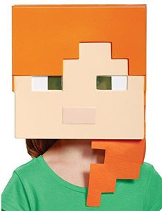 Girl's Minecraft Alex Vacuform Mask Child Halloween Costume Accessory