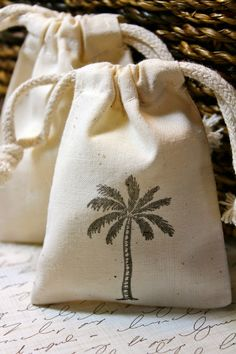10 Cotton Drawstring Muslin Favor Bags  Palm by JacquelynVaccaro, $12.50