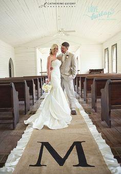 DIY Unique Burlap RunnerMonogram Aisle for bride and groom, Burlap, mermaid bride dress, strapless dress, sweetheart dress,