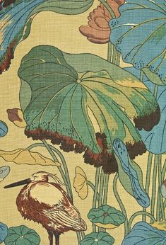 Nympheus Linen Fabric Oat linen fabric with Egret, Kingfisher and Lilly pad print in sage greens and aquas.