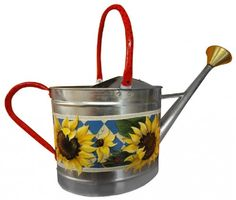 Embrace the gardening spirit with this colorful and practical watering can, abloom with cheery sunflowers and loads of Traditions Artist Acrylic colors. Decorative painting.