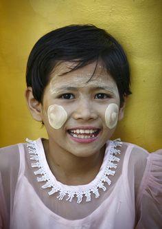 https://flic.kr/p/9MreWT | Myanmar smile - Burma | Burmese girl with thanaka make up, Myanmar  © Eric Lafforgue  www.ericlafforgue.com