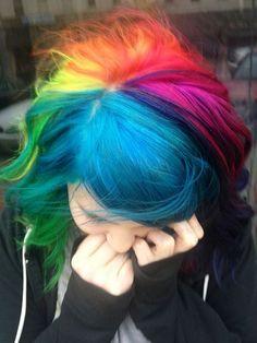 Rainbow Hair by Laura, hair, hair color, rainbow, multi-colored hair rainbow rainbow Pelo Multicolor, Bright Hair, Colorful Hair, Coloured Hair, Cool Hair Color, Hair Colors, Colours, Vibrant Colors, Grunge Hair