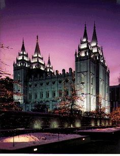 Salt Lake City Morman Temple at Night.  Salt Lake City, Utah.  Go to www.YourTravelVideos.com or just click on photo for home videos and much more on sites like this.