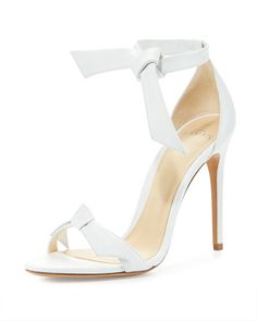 Clarita Knotted Leather Sandal, White