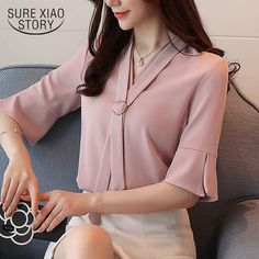 2018 new summer office lady style fashion short sleeved blouses women tops elegant solid casual chiffon women shirts you work which requires you to have a various set of clothes for work, then shopping can get actually pricey, especially when yo Office Fashion Women, Work Fashion, Latest Fashion For Women, Fashion Pants, Fashion Outfits, Style Fashion, Fashion Trends, Formal Tops For Women, Mode Shorts