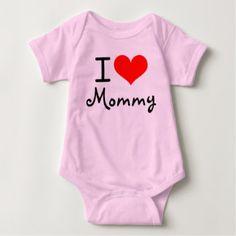 "Valentine's Personalized ""I Love"" Baby Bodysuit  #baby #babyapparel #babygift #bodysuit #mommy #love"