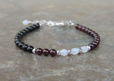 Black Tourmaline Bracelet - Garnet Bracelet - Minimalist Bracelet - Black and Red Bracelet for Women- Asymmetrical Gemstone Bracelet for Her by lelizabethjewelry on Etsy https://www.etsy.com/listing/592061068/black-tourmaline-bracelet-garnet
