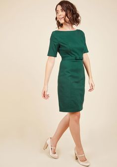 Ritzy Wishes Sheath Dress in Forest. Youve been longing for a look as lavish as this dark green sheath dress, and finally your wish has come true! #green #modcloth
