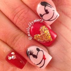 Disney Mickey Minnie Mouse Swarvoski Crystal art hand painted Valentine red square acrylic love nails
