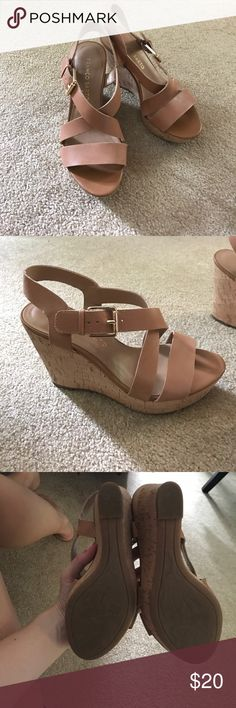 Tan Wedges Cute tan wedges that go with almost anything! Only worn a few times, good condition and comfortable for long periods of time! Shoes Wedges