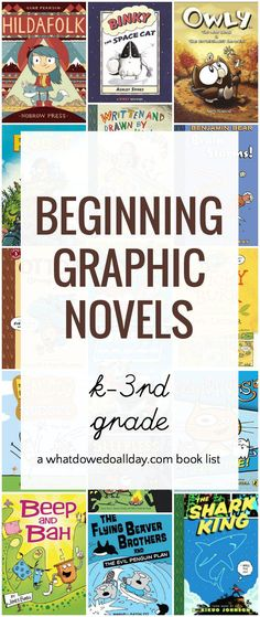 Best graphic novels for beginning readers. Age appropriate for different reading levels. Kindergarten-3rd grade. From @momandkiddo