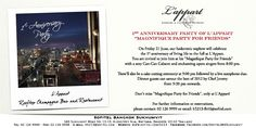 Join us on 21st June 2013 for celebrate the 1st year anniversary party at L'Appart
