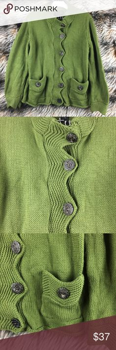 Pure Handknit Sweater L/XL Green Cardigan A18 Nice Sweater. Unique buttons. Medium weight. Soft, high quality. Questions? Ask! Pure Handknit Sweaters Cardigans