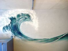 If they had this wall mural when I was decorating a beach condo a few years ago, this would definitely have been part of the modern beach decor. Mural Painting, Painting & Drawing, Wave Paintings, Wave Drawing, Beach Paintings, Ocean Wave Painting, Basement Painting, House Painting, Painting Inspiration