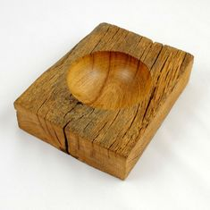 Hollowed Bowl in rectangular oak; great use of reclaimed barn or river wood Small Wood Projects, Wood Turning Projects, Lathe Projects, Woodworking Projects, Woodworking Guide, Carved Wooden Bowl, Wood Bowls, Wood Working For Beginners, Wood Lathe