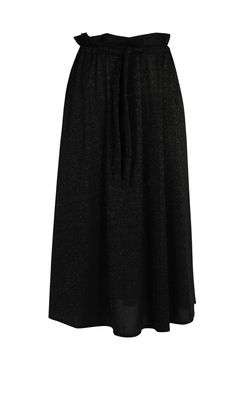 Mid-length swing skirt with gold glitter fabric detail, side pockets and an adjustable paper bag waist. THIS ITEM IS ON  SALE  AND CANNOT BE RETURNED FOR A REFUND BUT CAN BE EXCHANGED Composition: 60% Nylon, 15% Spandex, 25% Metallic Care Instructions: Cold gentle machine wash Worn with: Galaxy Turtleneck & Caesura Heel