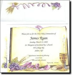 Open Bible First Holy Communion Invitations by TCWDesigns.com Open Bible, Holy Communion Invitations, First Holy Communion, Holi, Printing, Place Card Holders, Bar, My Love, Frame