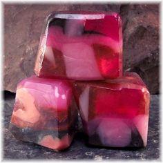 Rose Quartz Gemstone Soap Rocks Pink, Rose, Copper and Brown | Soapsmith - Bath & Beauty on ArtFire