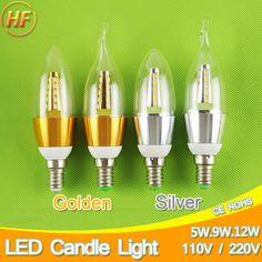 Golden Silver 5w 9w 12w E14 LED Candle Light Aluminum Shell LED Bulb 110V 220V Led Lamp E14 Cool War-  Item Type: LED Bulbs  LED Chip Brand: Sharp  Certification: UL,CE,RoHS,CCC  Luminous Flux: 500 - 999 Lumens  Brand Name: Green Eye  Average Life (hrs): 40000  Number of LED Chip: 25 pcs  Power Tolerance: 1%  Occasion: living room  Beam Angle(°): 170°  Voltage: 220V  Color Temperature: Warm White (2700-3500K)  LED Chip Model: SMD5730  Led Bulb Type: Candle Bulb  Base Type: E14  Shape: Candle…